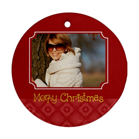 Xmas Gift  By May   Ornament (round)   Zn9o8z2ov6uk   Www Artscow Com Front