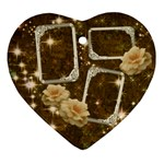 Neutral gold rose star 2 side Heart ornament - Heart Ornament (Two Sides)