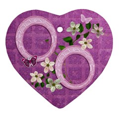 Purple Flower Spring Easter 2 Side Heart Ornament By Ellan   Heart Ornament (two Sides)   9semz0ba5dqn   Www Artscow Com Front