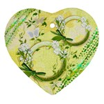 Yellow spring flower 2 side Heart ornament - Heart Ornament (Two Sides)