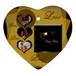 Love Heart Gold 2 side Heart ornament - Heart Ornament (Two Sides)