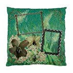 green aqua Floral Double Sided Cushion Case  - Standard Cushion Case (Two Sides)