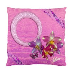 Purple Floral Double Sided Cushion Case  by Ellan Back