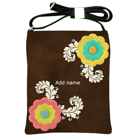 Shoulder Sling Bag: Big Flowers by JennyL Front