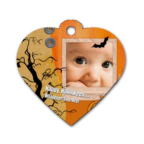 Halloween By Joely   Dog Tag Heart (one Side)   5pdtmk6znl95   Www Artscow Com Front