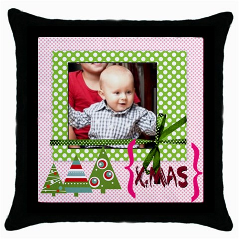 Merry Christmas 1 By Joely   Throw Pillow Case (black)   5d9zaljc6vsx   Www Artscow Com Front