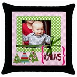 Merry Christmas 1 - Throw Pillow Case (Black)