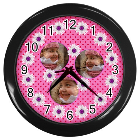 Daisy Chain Black Wall Clock By Deborah   Wall Clock (black)   619a99l8silu   Www Artscow Com Front