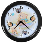 Teddy Bear Picnic Clock - Wall Clock (Black)