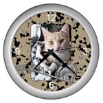 Crazy Cat Silver Clock - Wall Clock (Silver)