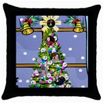 Christmas window throw pillow - Throw Pillow Case (Black)