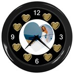 Hearts Clock - Wall Clock (Black)