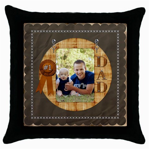Number One Dad Throw Pillow Case By Lil    Throw Pillow Case (black)   Ose2n0i8plxa   Www Artscow Com Front