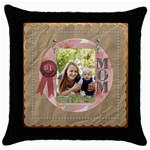 Number One Mom Throw Pillow Case - Throw Pillow Case (Black)