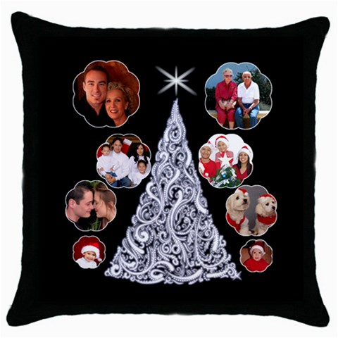 Snowball Christmas Tree Thow Pillow By Deborah   Throw Pillow Case (black)   E614letwg9no   Www Artscow Com Front