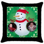 snowman pillow case - Throw Pillow Case (Black)