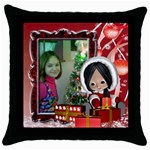 Christmas child pillow case - Throw Pillow Case (Black)