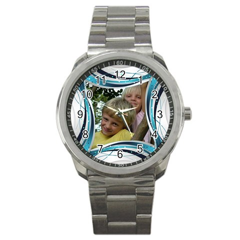 Blue And Silver Sports Watch By Deborah   Sport Metal Watch   Aya6by637h5z   Www Artscow Com Front