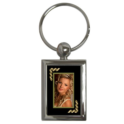 Black And Gold Key Chain By Deborah   Key Chain (rectangle)   3a9qqvd7leic   Www Artscow Com Front