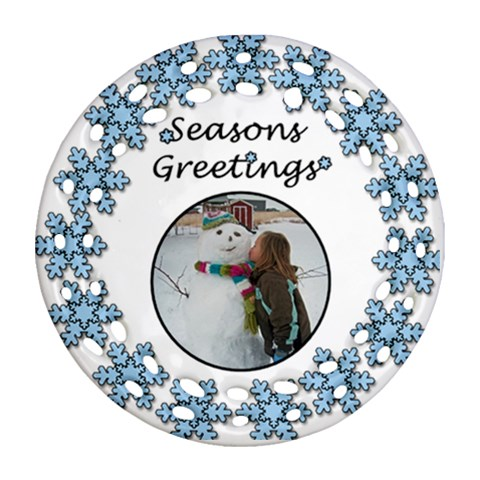 Seasons Greetings By Amanda Bunn   Ornament (round Filigree)   4ga52c7gd4sz   Www Artscow Com Front
