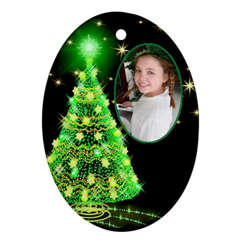 Green Christmas Tree Ornament By Deborah   Ornament (oval)   Zkozcjmklmst   Www Artscow Com Front