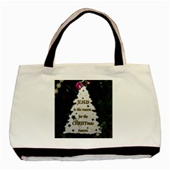 Jesus Is The Reason Twin Sided Black Tote Bag by tammystotesandtreasures