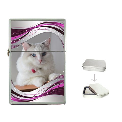 Silver And Pink Flip Top Lighter By Deborah   Flip Top Lighter   Bcm32qwfn9mk   Www Artscow Com Front
