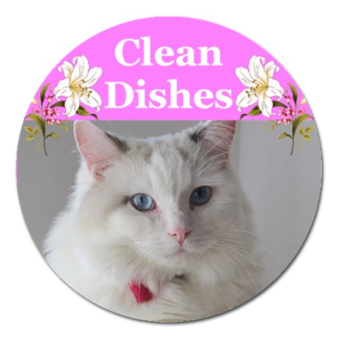 Heathers Clean Dishes 2 By Deborah   Magnet 5  (round)   89pbwk8bs4bo   Www Artscow Com Front