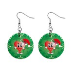 Christmas Heart Earrings - 1  Button Earrings