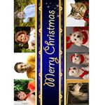 8 Picture Merry Christmas Card 5x7 (blue) - Greeting Card 5  x 7