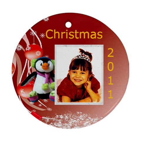 Penguin Ornament 1 By Kim Blair   Ornament (round)   Y42tubtxz0hn   Www Artscow Com Front