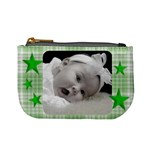 Mini Coin Purse Green Stars