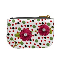 Mini Coin Purse Red Grn Dots By Laurrie Back