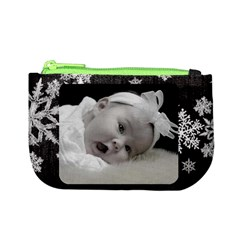 Mini Coin Purse Black Snowflakes By Laurrie Front