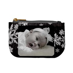 Mini Coin Purse Black Snowflakes By Laurrie   Mini Coin Purse   T9n0cijfsgnd   Www Artscow Com Front