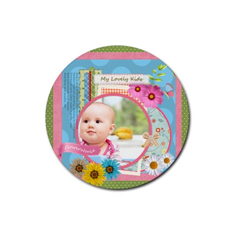 Flower Gift By Joely   Rubber Coaster (round)   3o0hc3l31l5a   Www Artscow Com Front