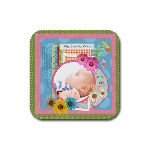 Flower Gift By Joely   Rubber Square Coaster (4 Pack)   Pb6tr9rui9j1   Www Artscow Com Front
