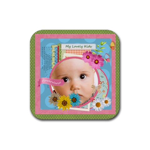 Flower Gift By Joely   Rubber Coaster (square)   6kynxrr08wsf   Www Artscow Com Front