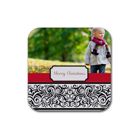 Merry Christmas By May   Rubber Coaster (square)   6qwcy3vnpd99   Www Artscow Com Front