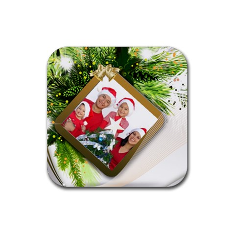 Family Christmas Coaster By Deborah   Rubber Coaster (square)   B27ykbankbxa   Www Artscow Com Front
