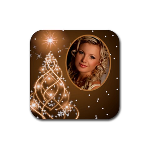 Golden Christmas Coaster By Deborah   Rubber Coaster (square)   F4s8b4x8edwf   Www Artscow Com Front