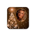 Golden christmas coaster - Rubber Coaster (Square)