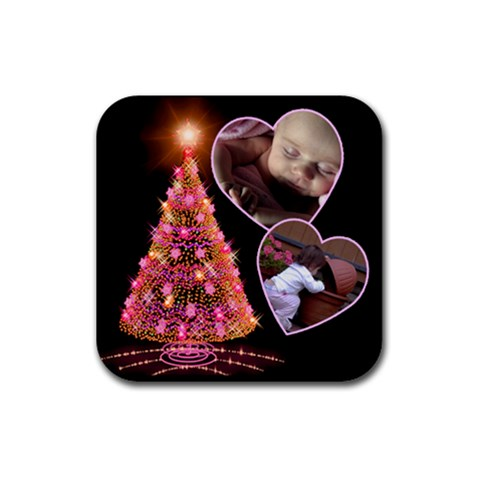 O Christmas Tree Coaster By Deborah   Rubber Coaster (square)   O5712p42tw9m   Www Artscow Com Front
