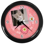 Pretty Pink Floral Clock - Wall Clock (Black)