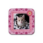 Pretty Pink Square Coaster - Rubber Coaster (Square)