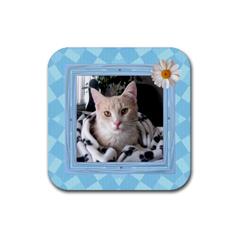 Pretty Blue Square Coaster By Lil    Rubber Coaster (square)   M4npu34rzmgq   Www Artscow Com Front