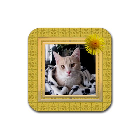 Pretty Yellow Square Coaster By Lil    Rubber Coaster (square)   B6e28h127vej   Www Artscow Com Front