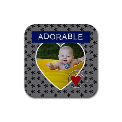 Adorable Square Coaster By Lil    Rubber Coaster (square)   Ah93bn6w9e81   Www Artscow Com Front