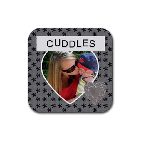 Cuddles Square Coaster By Lil    Rubber Coaster (square)   9gxl5xh5d2mc   Www Artscow Com Front