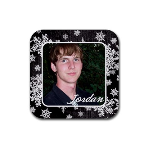 Coaster Black Snowflakes By Laurrie   Rubber Coaster (square)   5i8atiyvg4pu   Www Artscow Com Front